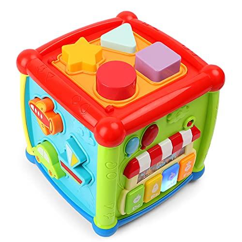 kramow Musikspielzeug Baby Spielzeug 1 Jahr 2 Jahren Junge Mädchen,Lernspielzeug,Entdeckerwürfel mit Licht und Musik