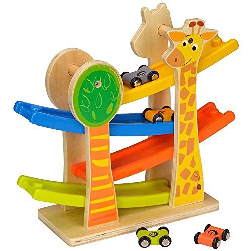 Spiel AG Kugelbahn Giraffe Rollbahn aus Holz mit 4 Autos