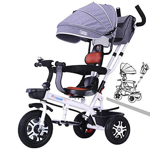 Dreiräder Für Kinder ab 1 Tricycle-Trike-Trikes- Dreiräder mit einstellbarem Baldachin, Kinder mit Schubgriff/ Sicherheitsgurt, Kleinkind- Fahrrad für Jungen/ Kinder Alter 1- 6 Jahre (Farbe: blau) (Fa