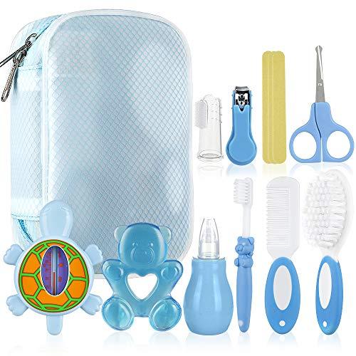 Lictin Babypflegeset 10 teilige Baby Pflegeset Neugeborene mit Badethermometer Nasensauger Kamm Nagelschere Baby Erstausstattung Pflegeset für Neugeborene Geschenken