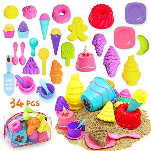 Joruns Kinder Strand Spielzeug, 34 Stück Sandgrubenspielzeug für Kleinkinder, Sand mit Nachmittagstee-KuchenForm und Eisform Spielen, Aufbewahrungstasche inklusive