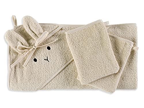 saewelo Kapuzenbadetuch für Babys und Kinder | 100% Bio-Baumwolle & Oeko-Tex | hergestellt in Europa | 100x100cm | Farbe Ungefärbt
