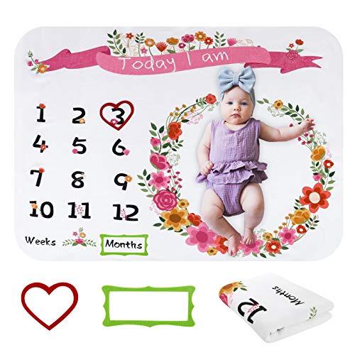 RosewineC Baby Meilenstein Decke, Baby Monats Decke, Blumendruck Fotodecke Premium Flanell Fotografie Hintergrund Decke für Jungen und Mädchen Unisex babydecke 100 x 130cm