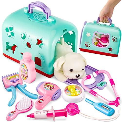 BUYGER 2 in 1 Tierarztkoffer mit Plüsch Hund Spielzeug, Arztkoffer Kinder Rollenspiel Tierarzt Spielset für Kinder ab 3 Jahre, Grün