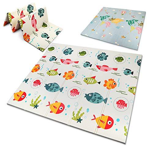 OUNUO Baby Spielmatte Spielteppich Doppelseitige Krabbelmatte 200 x 180 cm Spieldecke faltbare Krabbeldecke babymatte Kinder Matte gym yoga matte (Fisch)