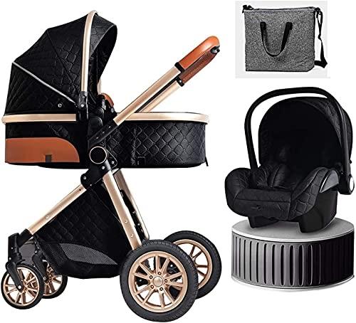 Kombi Kinderwagen, Kinderwagen 3 in 1 Faltbare Kinderwagen Reisesystem mit Autositz Faltbarer Kinderwagen Fußabdeckung Kühlkissendecke Regenschutz Rucksack Moskitonetz, WQQWQQ-8521.