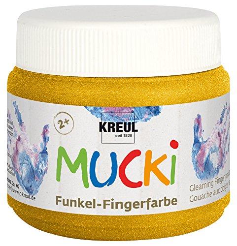 Kreul 23125 - Mucki schimmernde Funkel - Fingerfarbe, 150 ml in Goldschatz, auf Wasserbasis, parabenfrei, glutenfrei, laktosefrei und vegan, auswaschbar, vermalbar mit Pinsel und Fingern