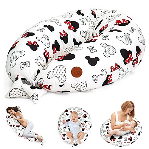 Stillkissen Schwangerschaftskissen zum Schlafen Seitenschläferkissen 165 x 70 cm Kissen - Lagerungskissen für Baby XXL Pregnancy Pillow Oeko-Tex Maus in Rot und Schwarz