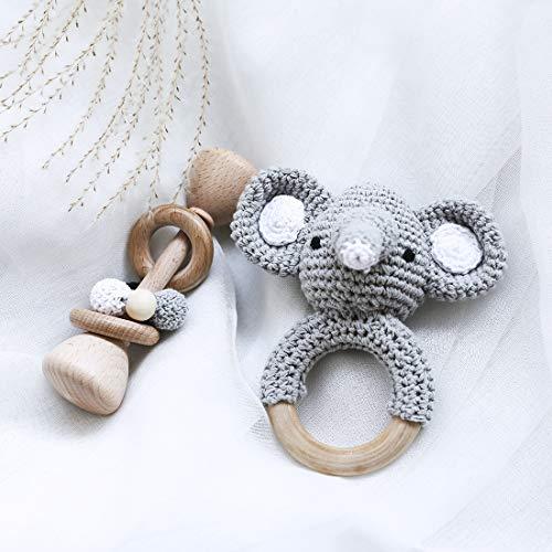 Let's Make Klassisches Bündel Holzrassel + Häkeln Elefantenmuster Beißrassel Ring Set Montessori Spielzeug Neugeborenes Baby Geschenk - Grau