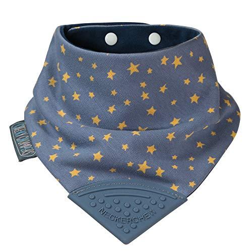 Lätzchen für zahnende Babys und Kleinkinder - Bandana Lätzchen mit Beißring aus Silikon - Preisgekröntes Halstuch Design von Cheeky Chompers - hygienisch + saugfähig + BPA frei (Midnight Stars)