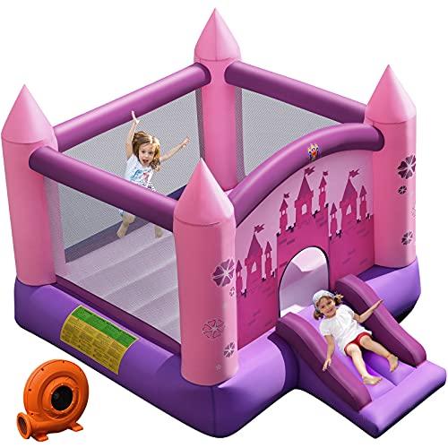 GOPLUS Hüpfburg mit Rutsche, aufblasbares Springburg mit Gebläse, Kinder Hüpfschloss mit Tragetasche, max. Belastbarkeit bis 90 kg, für 3-10 Jahre alt, Indoor & Outdoor, pink