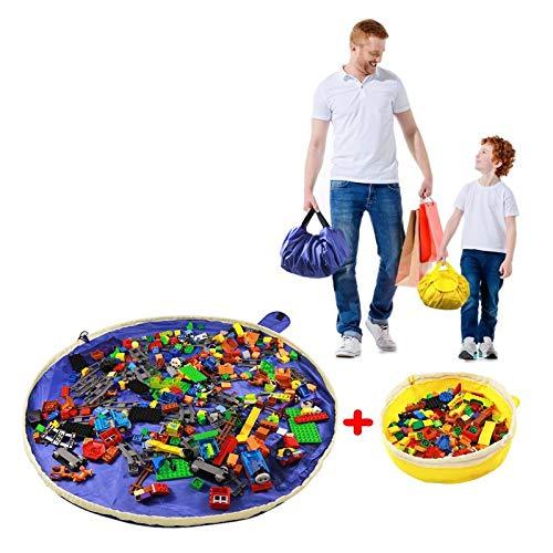 SUMBABO Spielzeug Aufbewahrung Sack für Lego - Spielzeug Aufraeumsack Teppich Decke Sack Spielmatte Sack von Kordelzug mit Kappe wie Reisetasche als Geschenk 2St=1Blau Groß + 1 Gelber Mini