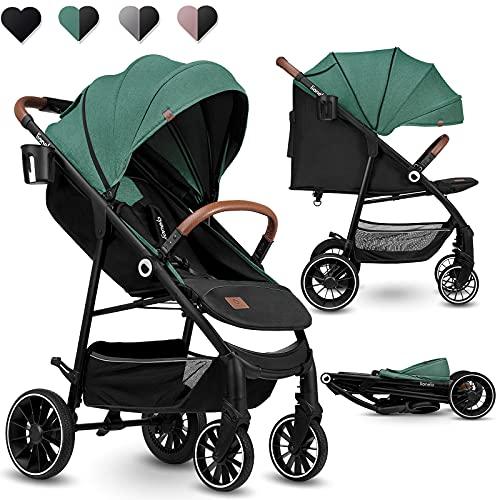Lionelo Alexia Kinderwagen ab Geburt bis 15 kg verstellbare Rückenlehne von Sitz- bis Liegeposition XXL Verdeck mit Sonnenschutz PU-Räder Tasche Moskitonetz (Grün)