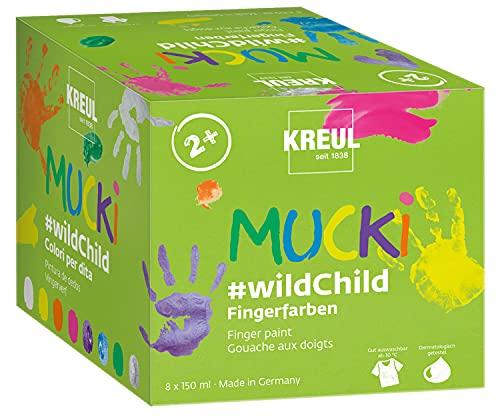 Kreul 2305 - Mucki Fingerfarben Premium Set Wild Child, auf Wasserbasis, für Kinder ab 2 Jahren, 8 x 150 ml Farbe in Weiß, Gelb, Orange, Pink, Zauber-Lila, Diamanten-Blau, Grün, Drachen-Silber