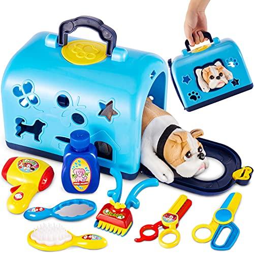 BUYGER Tierarztkoffer für Kinder mit Hund, Rollenspiel Tierarzt Spielzeug, Hundesalon Spielset Geschenke für Kinder ab 3 Jahre, Blau