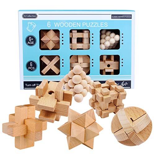 Myste 6 Stück Brainteaser Knobelspiele Set, Adventskalender Füller 6 Holzpuzzle Intelligenz IQ Test Spielzeug Logikspiel 3D Puzzle Kinder Erwachsene