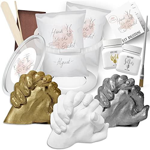 3D Handabdruck Set für Paare Hochwertiges Gipsabdruckset Hände Jahrestag Geschenk für Ihn und Sie Partner Geschenke, Pärchen Geschenke Inklusive Farben