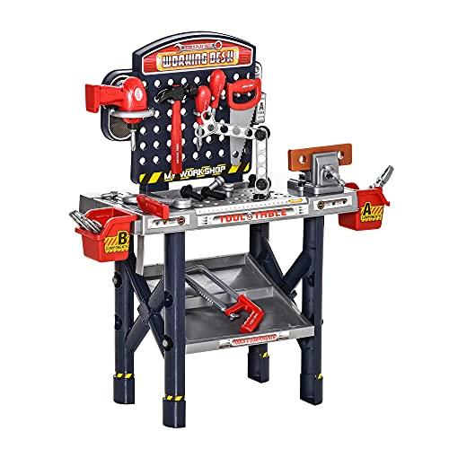 HOMCOM Kinder Werkbank Arbeitstisch Werkbanktisch mit 55 Zubehören Rollenspiel Spielzeug für Kinder von 3 bis 6 Jahren PP-Kunststoff Blau+Grau 69 x 26,5 x 75 cm