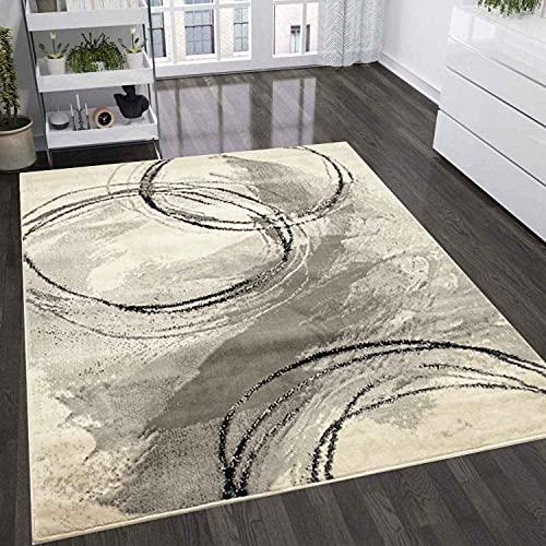 VIMODA Teppich Wohnzimmer Schlafzimmer Flur Teppich Kreisel Muster Schwarz, Maße:160x220 cm