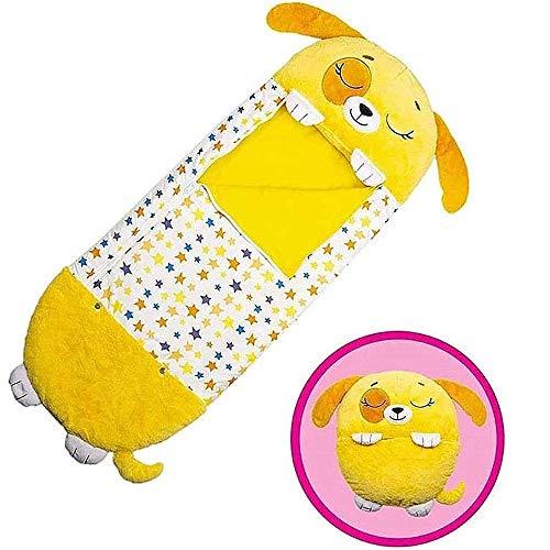 Lustiger Schlafsack für Kinder, Spielkissen und Schlafsack, bequemer einteiliger Kinderschlafsack, 2-in-1 Cartoon-Tierschlafsack für Jungen und Mädchen, Geschenk (mittelgroß 3–6 Jahre) (gelber Welpen)