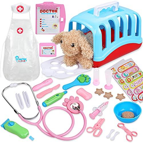 Gemeer Tierarztkoffer mit Hund Rollenspiel Spielzeug für Kinder, 35 Stück Arztkoffer mit Tierarzt Spielset für Mädchen und Jungen ab 6 Jahre