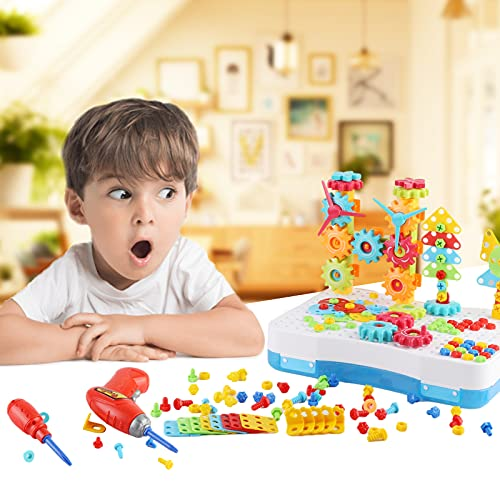 POMISTY Steckspiel Bohrmaschine Mosaik Spielzeug, 3D Puzzle Kinder Bausteine, DIY Spielzeug Steckspiele mit Kinder Elektrische Bohrmaschine für 3-6 Jahre Kinder (190 Stücke)