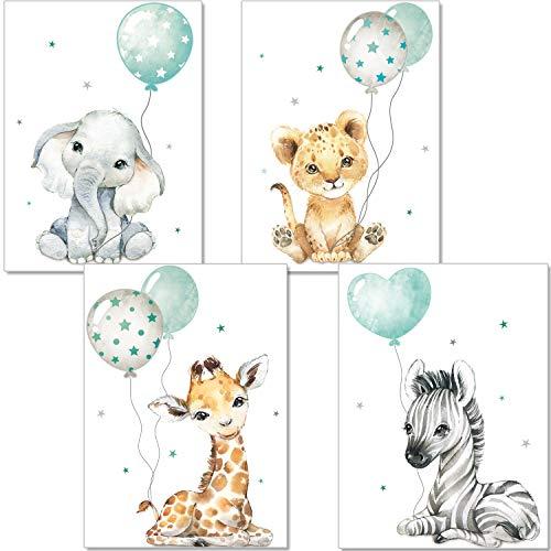 artpin® Poster Kinderzimmer - Bilder Babyzimmer Deko, Junge Mädchen - Dschungel mint Luftballon P63