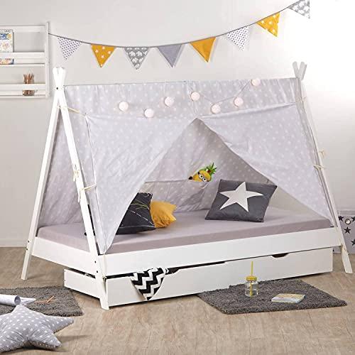 Homestyle4u 1990, Kinderbett 90x200 mit Bettkästen Tipi Bett Weiß Grau Jugendbett Zelt Sterne Holz Kiefer