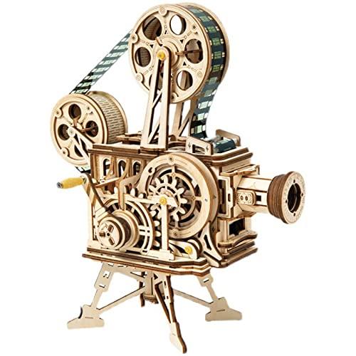 OMVOVSO Mechanisch Holz Modellbau, Hand Generator Klassischer Filmprojektor 3D Puzzle Holz Erwachsene Denkspiele Spielzeug Geschenk Für Erwachsene,1