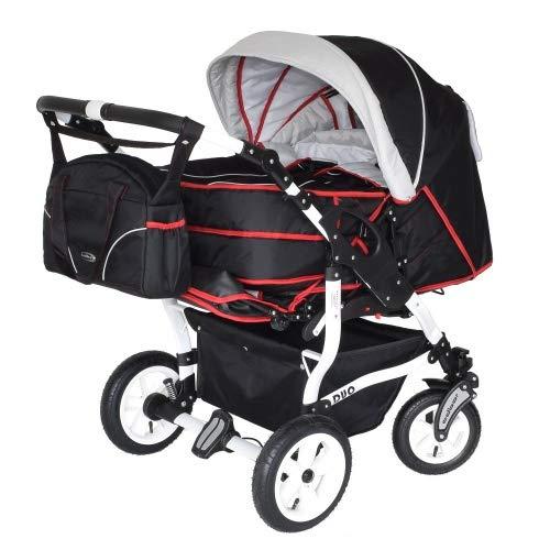 Adbor Duo 3in1 Zwillingskinderwagen mit Babyschalen - weißes Gestell, Zwillingswagen, Zwillingsbuggy Farbe Nr. 47w schwarz/silber