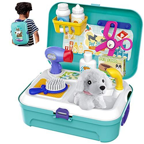 HERSITY Tierarztkoffer mit Hund Hundesalon Spielzeug Rollenspiel Kinder Tierarzt Spielset im Rucksack Geburtstag Geschenke für Mädchen Junge 3 4 5 Jahre