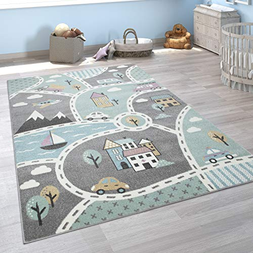 Paco Home Kinder-Teppich Mit Straßen-Motiv, Spiel-Teppich Für Kinderzimmer, In Grün Grau, Grösse:140x200 cm