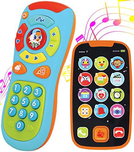 JOYIN Mein Lernen Fernbedienung und Telefon-Bundle mit Musik, Spaß, Smartphone Spielzeug für Baby, Säuglinge, Kinder, Jungen oder Mädchen, Geburtstagsgeschenke