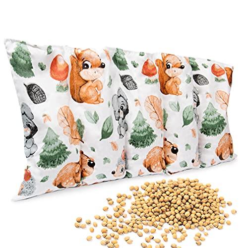 Amilian Kirschkernkissen 55 x 20cm Wärmekissen Wärmekompresse Körnerkissen Kirschkernsack Kirschkern Kissen für Kinder Erwachsene ideal als Massagekissen Kältekissen Eichhörnchen