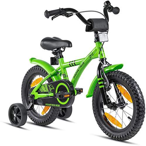 Prometheus Kinderfahrrad 14 Zoll Jungen mit Stützräder ab 3-4 Jahre Mädchen Rücktritt 14zoll BMX Modell 2021 in Grün Schwarz