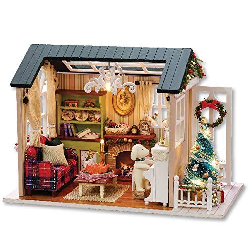 Decdeal DIY Puppenhaus 3D Holz Miniaturhaus Kit mit LED Licht Kunsthandwerk Geschenk für Valentinstag, Kindertag, Weihnachten, Hochzeit, Geburtstag