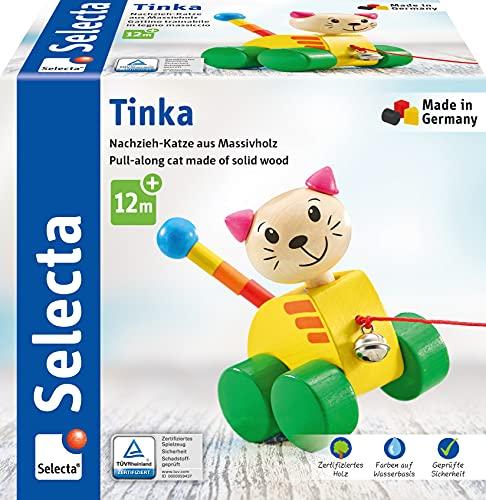 Selecta 62035 Tinka, Nachzieh Katze, Schiebe-und Nachziehspielzeug aus Holz, 12 cm