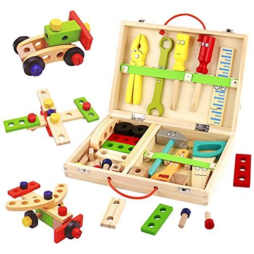 Werkzeugkoffer Kinder Holzspielzeug Werkzeugkasten-Kinderwerkzeug Lernspielzeug Werkzeug Kinder Werkzeug Koffer Kinder Kleine Geschenke für Kinder Spielzeug Jungen Kinderspielzeug ab 3 4 5 6 Jahren