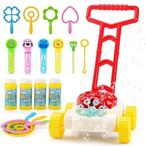 JoyGrow Seifenblasen Rasenmäher für Kinder Automatische Seifenblasen Maschine mit Musik klingt Outdoor Party Spielzeug für Kleinkinder mit 4 Flaschen Lösung und 11PCS Blase Zauberstäbe Set