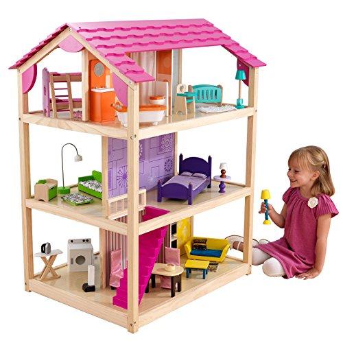 KidKraft 65078 So Chic Puppenhaus aus Holz mit Möbeln und Zubehör, Spielset mit drei Spielebenen für 30 cm große Puppen