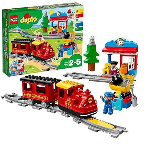 LEGO 10874 DUPLO Dampfeisenbahn, Spielzeugeisenbahn mit Licht & Geräuschen und batteriebetriebenem Push-&-Go-Motor, Spielzeug für Kleinkinder ab 2 Jahre