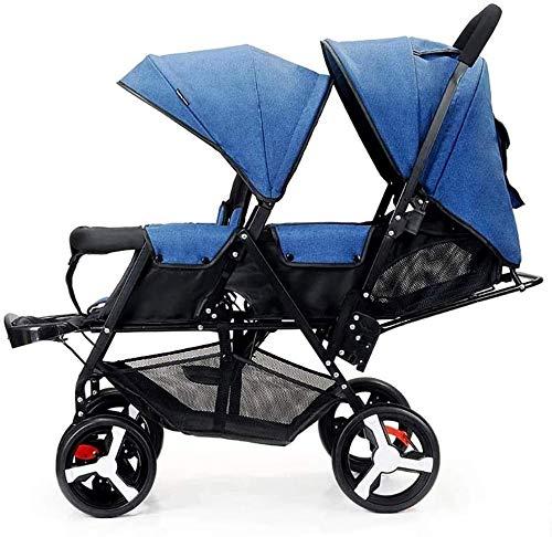 SMSOM Doppelkinderwagen 0-36 Monate Baby Pram, Seite an Seite Zwillinge Kinderwagen Abdeckung Kinderwagen Pram Zubehör (Color : Blue)