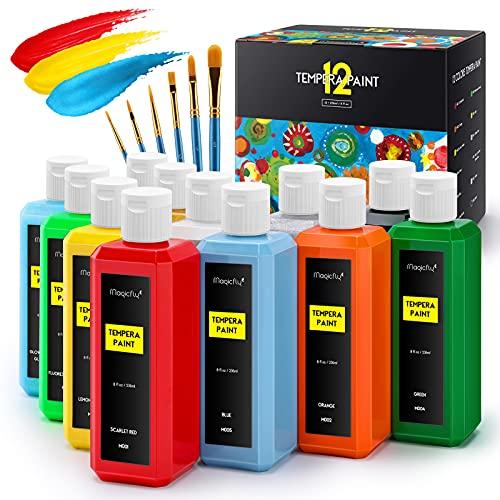 Magicfly Fingerfarben, 12 x 236 ml Fingerfarben Kinder Ungiftig, Fingermalfarben für Kinder Temperafarben mit Glitter, Metallic & Glossy Farben