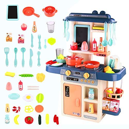 Kinderküche Spielküche Kinder Küche-Kinderküche Spielküche Zubehör Küchenzubehör Küche Kinder Spielzeug ab 3 4 5 6 Jahren Mädchen Jungen,Kinder Küche Zubehör Rollenspiel Küchenutensilien Set 42 Stück