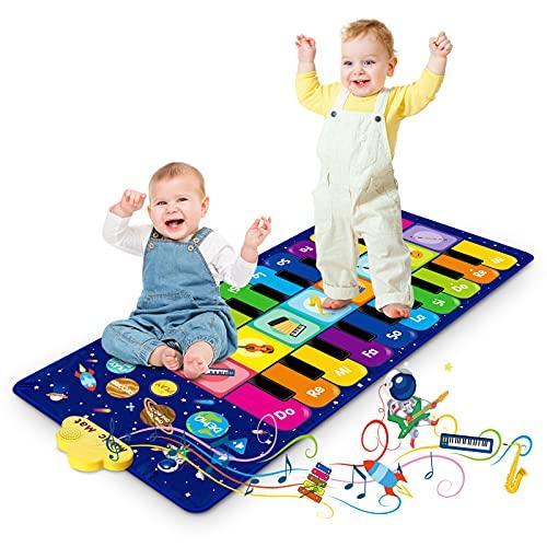 Klaviermatte für Kinder, Tanzmatte Musikmatte mit 8 Instrumenten & 20 Tasten, Lernspielzeug Geschenke für Baby Jungen Mädchen ab1 2 3 4 5 Jahre, 120 x 48 cm