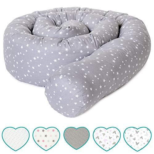 mimaDu® Bettschlange, Bettrolle (210 x 10cm) Bettumrandung für Babybett - weich und kuschelig - ÖKO-Tex zertifizierte Baumwolle - Sternen (grau-weiss)