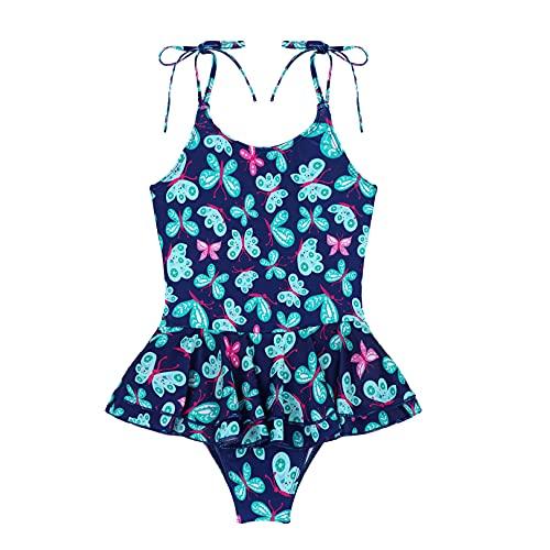 JEATHA Baby Mädchen Tankini Einteilig Badeanzug Spaghetti Träger Bikini Set Schwimmanzug Kleinkinder Badebekleidung Sommer Swimsuit Gr.50-98 Type B Dunkelblau Butterfly 146-152