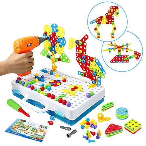 Mosaik Steckspiel Schraube Spielzeug - 3D Puzzle Kinderspielzeug ab 3 4 5 6 Jahre Alt Pädagogisches Spielzeuge mit Elektronischem Bohrer Baustein Spielzeug Geschenkidee für Kinder Junge Mädchen