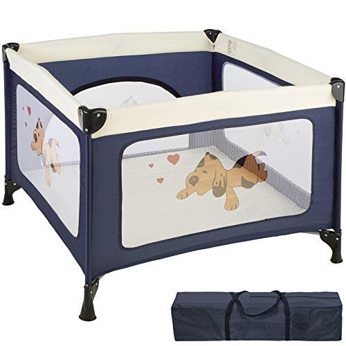 TecTake Kinder Reisebett Laufstall mit Babyeinlage - diverse Farben - (Navy Blau   Nr. 402205)