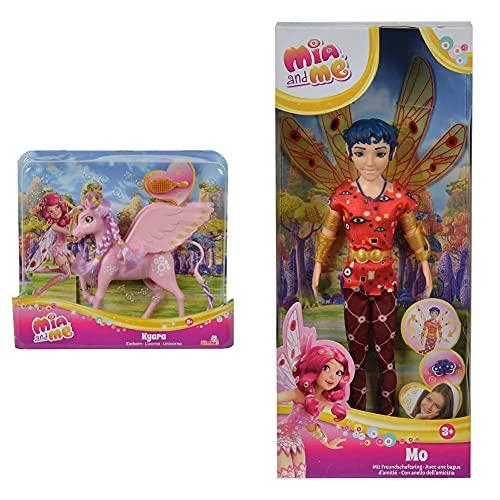 Simba 109480092 - Mia and Me Einhorn Kyara & 109480091 – Mia and Me Neue Puppe Mo mit Glasaugen
